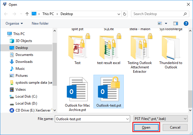 Open Outlook files